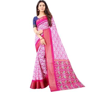 Women's Pink Ikkat Pallu Hand-block Prints Sarees With Blouse
