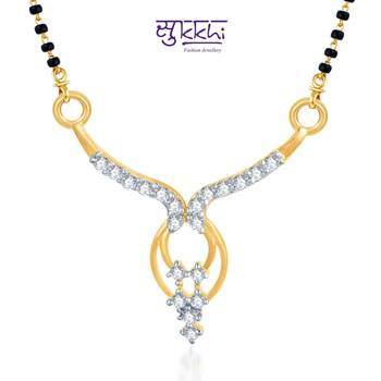 Sukkhi Traditional CZ Gold and Rhodium Plated mangalsutra(113M350)