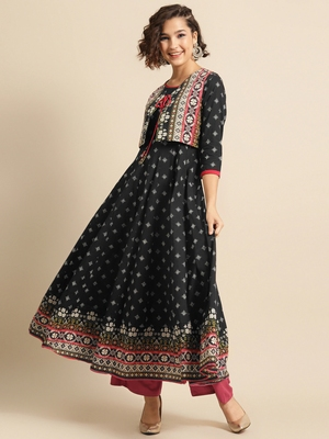 Divawalk Black Printed Flared Anarkali With waist coat