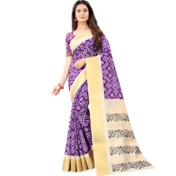Women's Purple Ikkat Pallu Hand-block Prints Sarees With Blouse