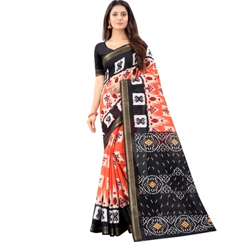 Women's Orange Ikkat Pallu Hand-block Prints Sarees With Blouse