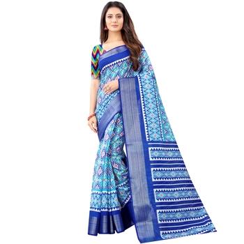 Women's Sky Blue Ikkat Pallu Hand-block Prints Sarees With Blouse