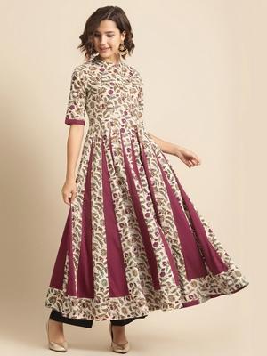 Divawalk Beige & Maroon Floral Printed Flared Anarkali