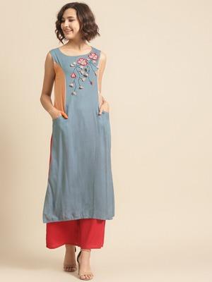 Divawalk Blue & Beige Embroidered Neck design Kurta