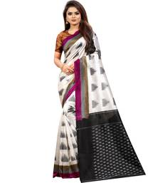Off White Butter Silk IKKAT Prints Sarees With Blouse