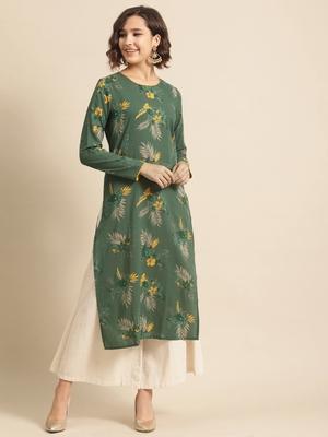 Divawalk Green printed straight kurta with contrast detailing