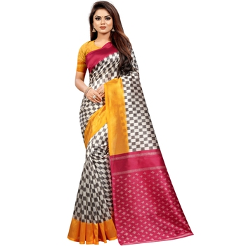Multi Color Butter Silk IKKAT Prints Sarees With Blouse