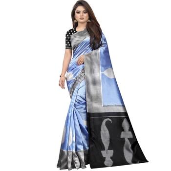 Sky Blue Butter Silk IKKAT Prints Sarees With Blouse
