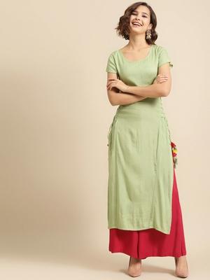 Divawalk Mint green straight kurta with side tie ups