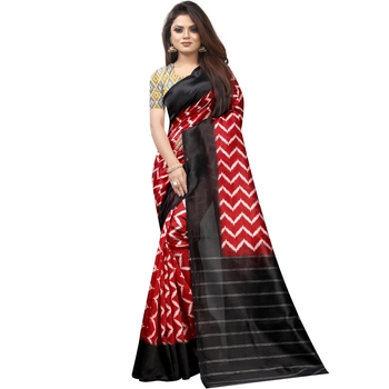 Red Butter Silk IKKAT Prints Sarees With Blouse