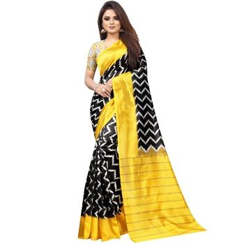 Black Butter Silk IKKAT Prints Sarees With Blouse