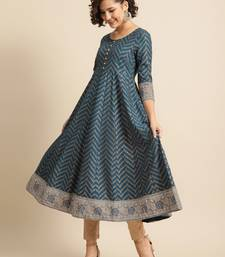 Divawalk Navy Blue and Grey Anarkali kurta
