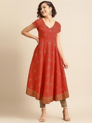 divawalk Red Gold Printed Flared Anarkali