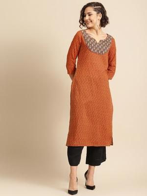 divawalk Orange & Brown Printed Straight Kurta