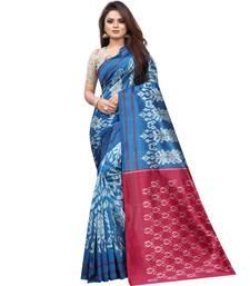 Blue Butter Silk IKKAT Prints Sarees With Blouse