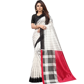 White Butter Silk IKKAT Prints Sarees With Blouse