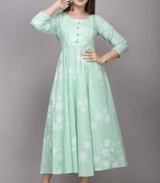 Green Printed Cotton Anarkali Kurti
