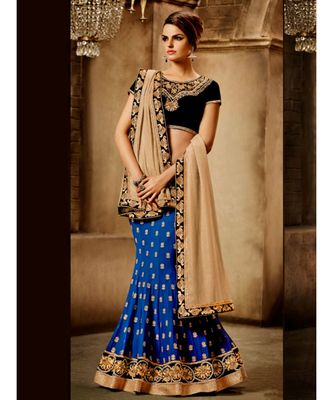 Royal blue georgette lehenga saree with all over zari butis in pearl paired with beige smoked premium chiffon dupatta