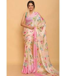 Baby Pink Printed Japan Satin All over Printed Saree With Seprate Blose