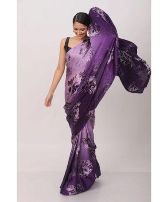 Purple Printed Japan Satin All over Printed Saree With Seprate Blose
