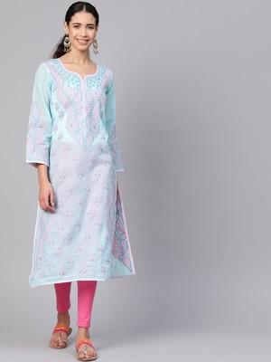 Ada Hand Embroidered Blue Cotton Lucknowi Chikankari Kurti
