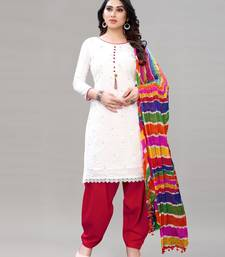 White and Red Cotton Embriodered Unstiched Dress Materials With Multicolour Dupatta.