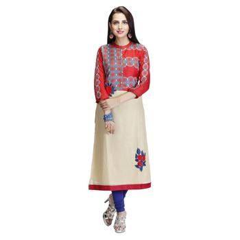 Red embroidered art silk long-kurtis