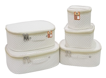 atorakushon® Fabric Makeup Storage Box Shaving Travel Vanity Cosmetic Bag Wardrobe Organizer Jewellery Pouch (dot Cream)