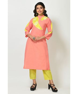 Pink Dola Silk Printed Quarter Sleeves Womens Straight Pant Set