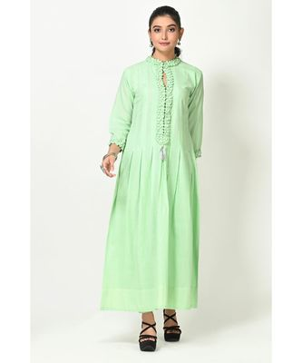 Pista Green Cotton Solid Full Sleeves Womens Gown