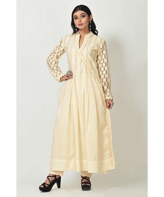 Cream Georgette Lace Work Full Sleeves Womens Anarkali Set