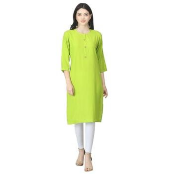 Green plain rayon long-kurtis