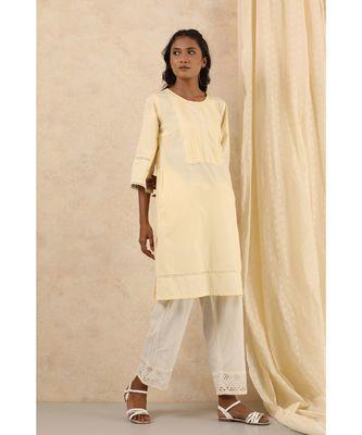 beige plain cotton kurtis