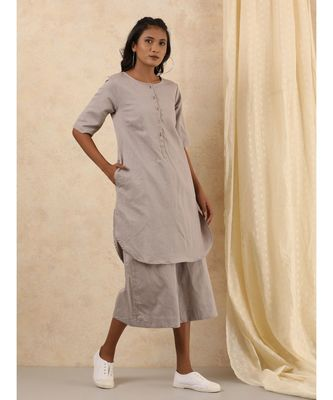 grey plain linen kurta sets