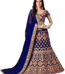 Blue Designer Partywear Embroidered Work Satin Material Lehenga Choli