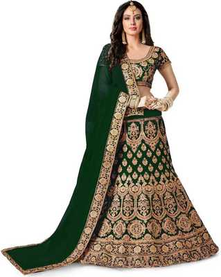 Green  Designer Partywear Embroidered Work Satin  Material Lehenga Choli