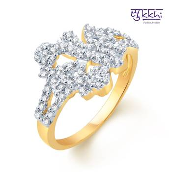 Sukkhi Indian Wedding Gold and Rhodium Plated CZ rings(147R610)