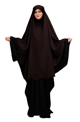 JSDC Women Outdoor Wear Plain Long Niqab Style Prayer Khimar Abaya Dress