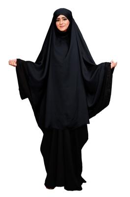 JSDC Dark Grey Color Long Prayer Niqab Style Nida Khimar For Women