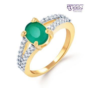 Sukkhi Estonish Gold and Rhodium Plated Emerald CZ rings(154R790)