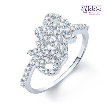 Sukkhi Eye-Catchy Rhodium Plated CZ rings(164R650)