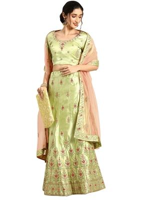 Women Green Embroidery Satin Semi Stitched Lehenga