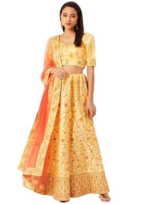Women Yellow Embroidery Satin Semi Stitched Lehenga