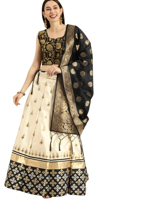 Women Cream Woven Zari Silk Blend Semi Stitched Lehenga