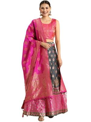 Women Grey & Pink Woven Zari Silk Blend Semi Stitched Lehenga