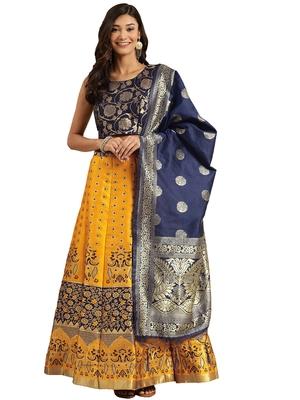 Women Mustard & Navy Blue Woven Zari Silk Blend Semi Stitched Lehenga