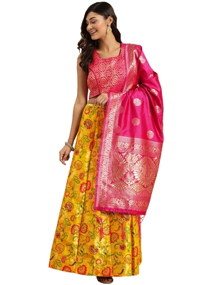 Women Mustard Woven Zari Silk Blend Semi Stitched Lehenga