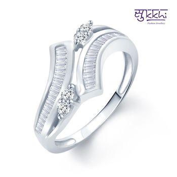 Sukkhi Sublime Rhodium Plated CZ rings(182R1110)