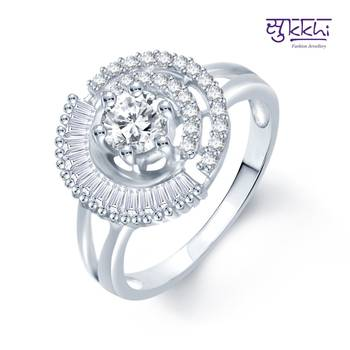 Sukkhi Ritzzy Rhodium Plated CZ rings(183R990)