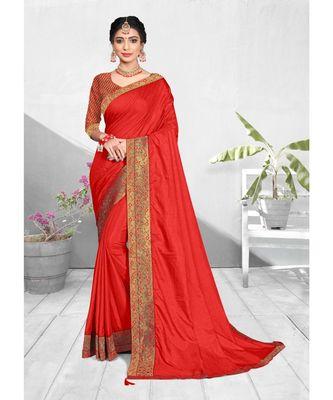 Red Vichitra silk Lace Work Designer Saree